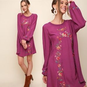 Umgee Floral Long Sleeve Embroidered Dress A4542